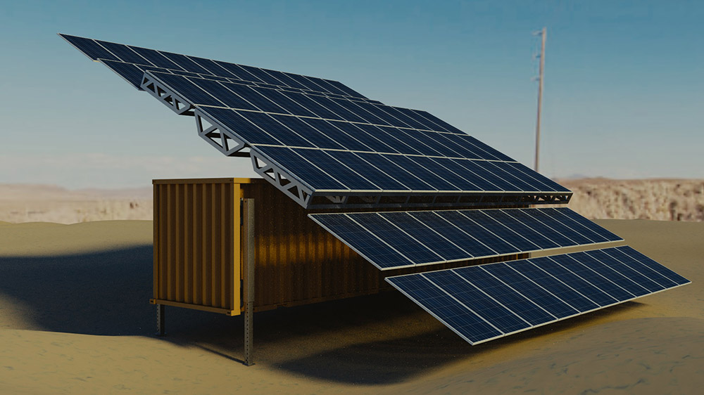 Solar container in the desert