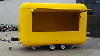 Yellow food trailer