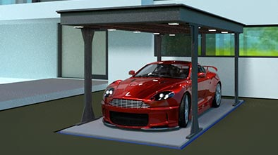Underground home garage with red car