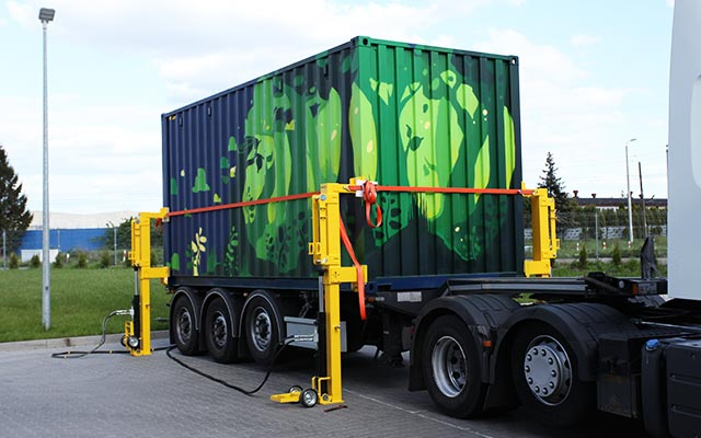 Solar Container is unloading from truck